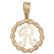 9ct Gold Round rope edged Initial letter R pendant 0.8g
